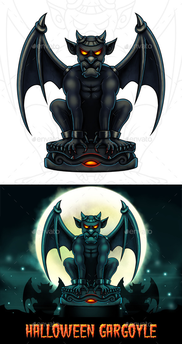Halloween Gargoyle Illustration Digital Painting - Illustrations Graphics
