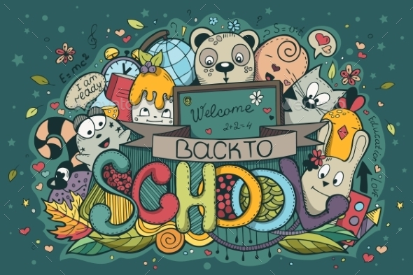 Back to School Hand-Drawn Doodles - Backgrounds Decorative