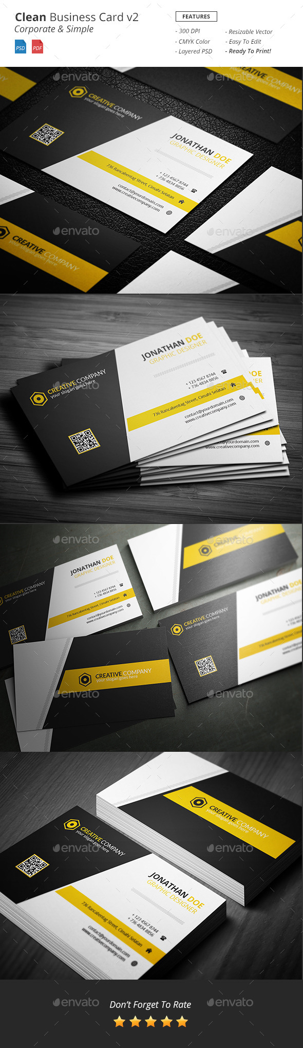 Clean - Corporate Business Card v2 - Corporate Business Cards