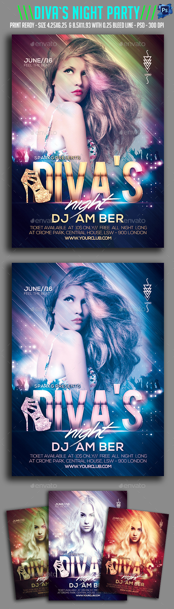 Diva's Night Party Flyer  - Clubs & Parties Events