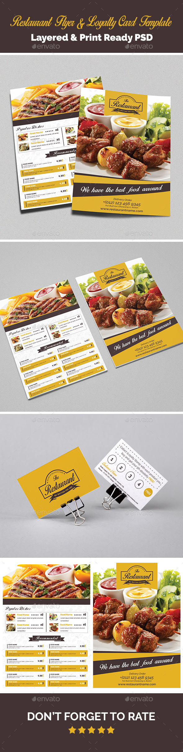 Restaurant Flyer & Loyalty Card Template - Food Menus Print Templates