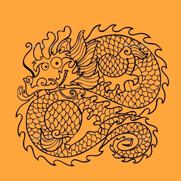 Chinese Dragon Character - Tattoos Vectors