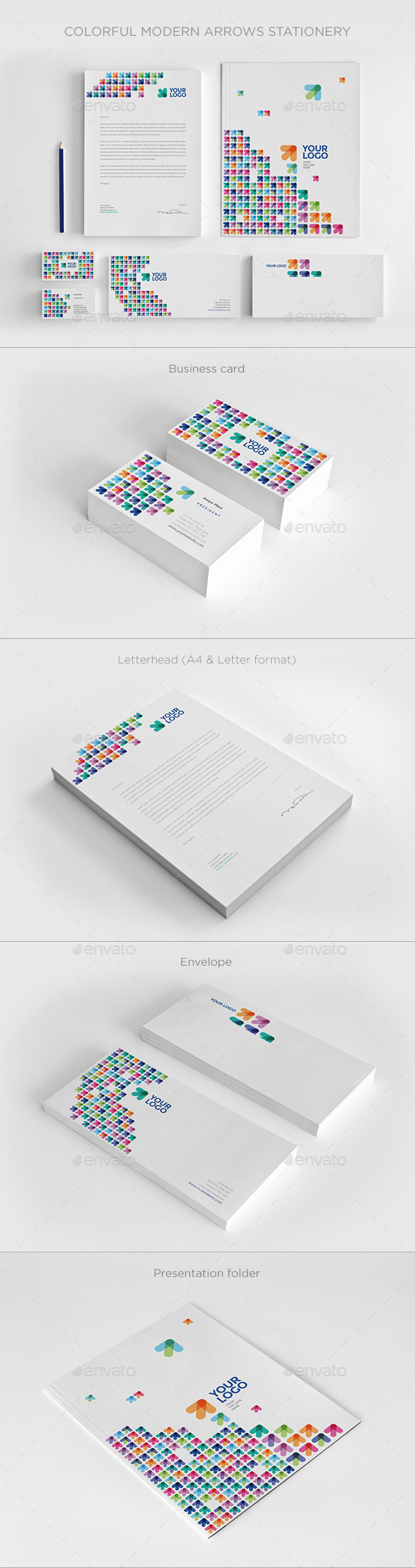 Colorful Modern Arrows Stationery - Stationery Print Templates