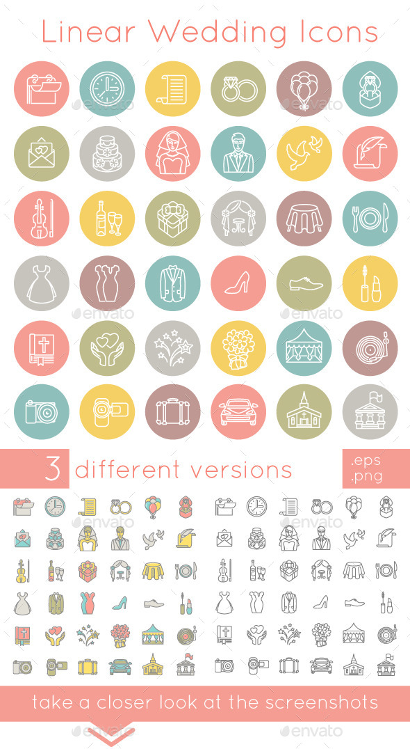 Flat Linear Wedding Icons  - Miscellaneous Icons