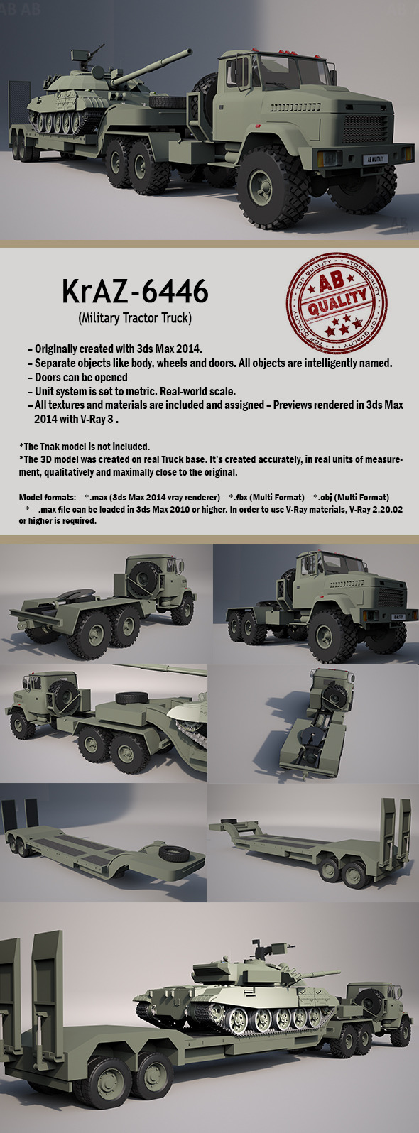 Military Tractor Truck (KrAZ-6446) With Trailer - 3DOcean Item for Sale