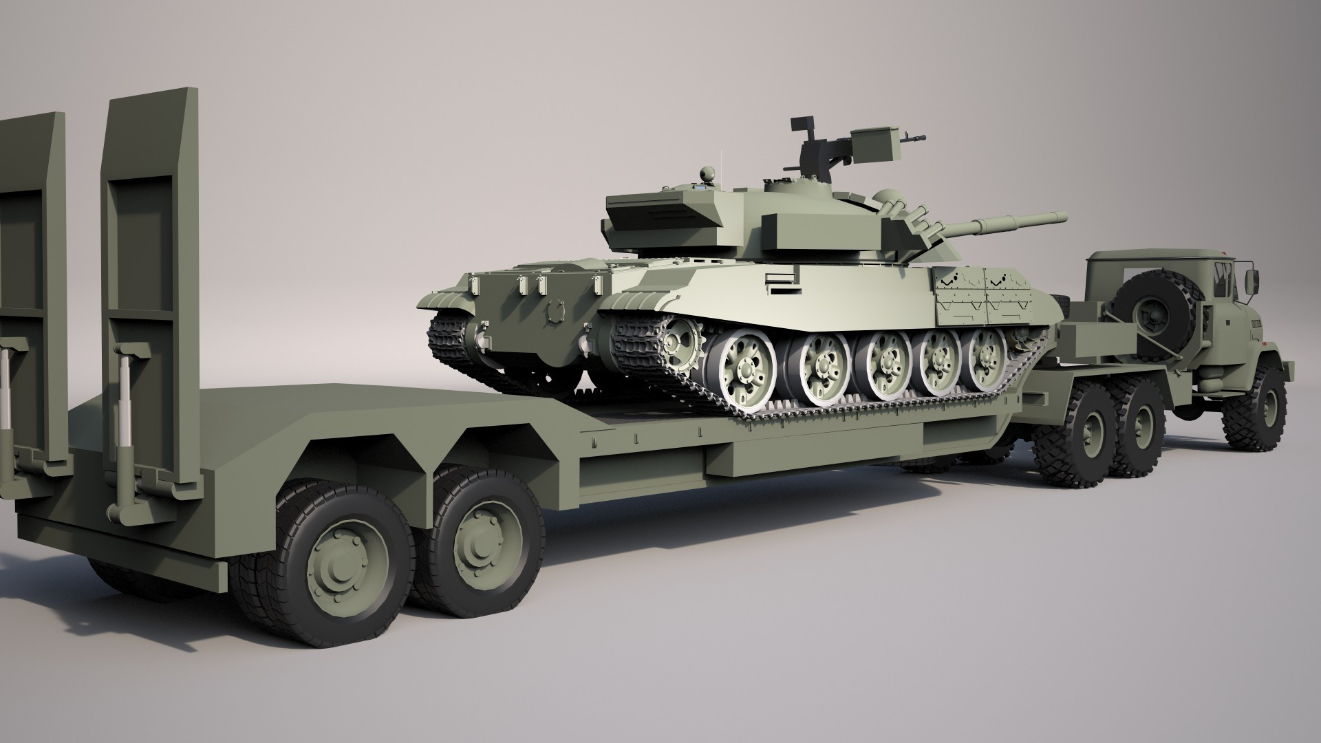 Military Tractor Truck Kraz 6446 With Trailer By