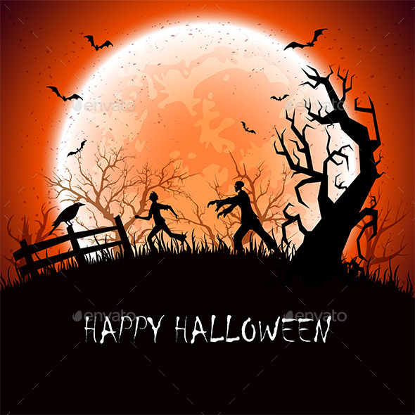 Halloween Background with Zombie - Halloween Seasons/Holidays