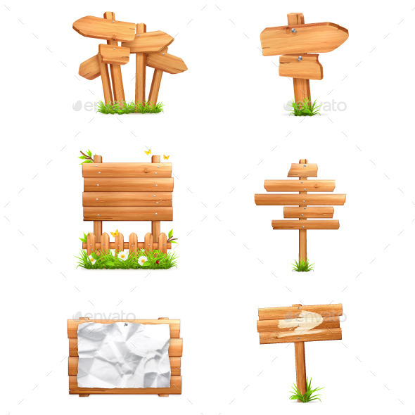 Wooden Signs Icons - Man-made Objects Objects