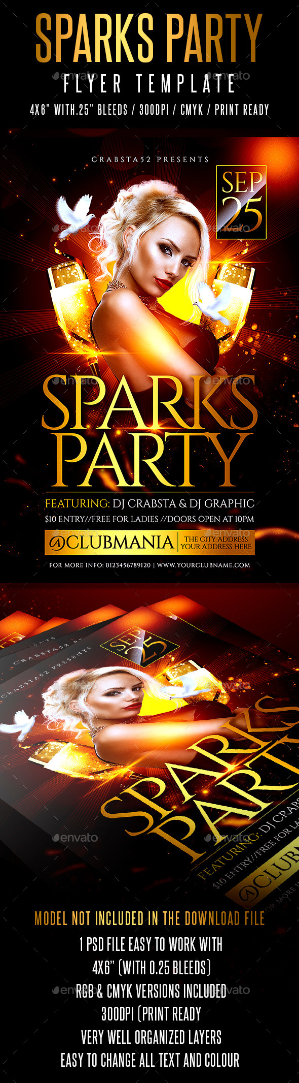 Sparks Party Flyer Template  - Flyers Print Templates