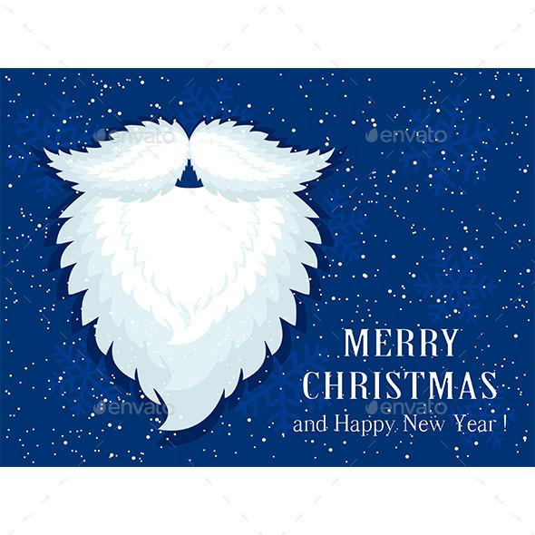 Santa Beard on Blue Snow Background - Christmas Seasons/Holidays