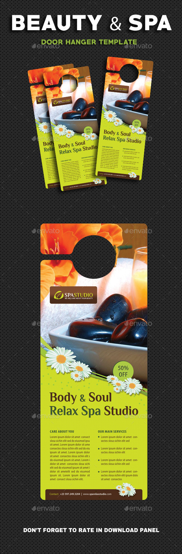 Beauty And Spa Door Hanger V2 - Miscellaneous Print Templates