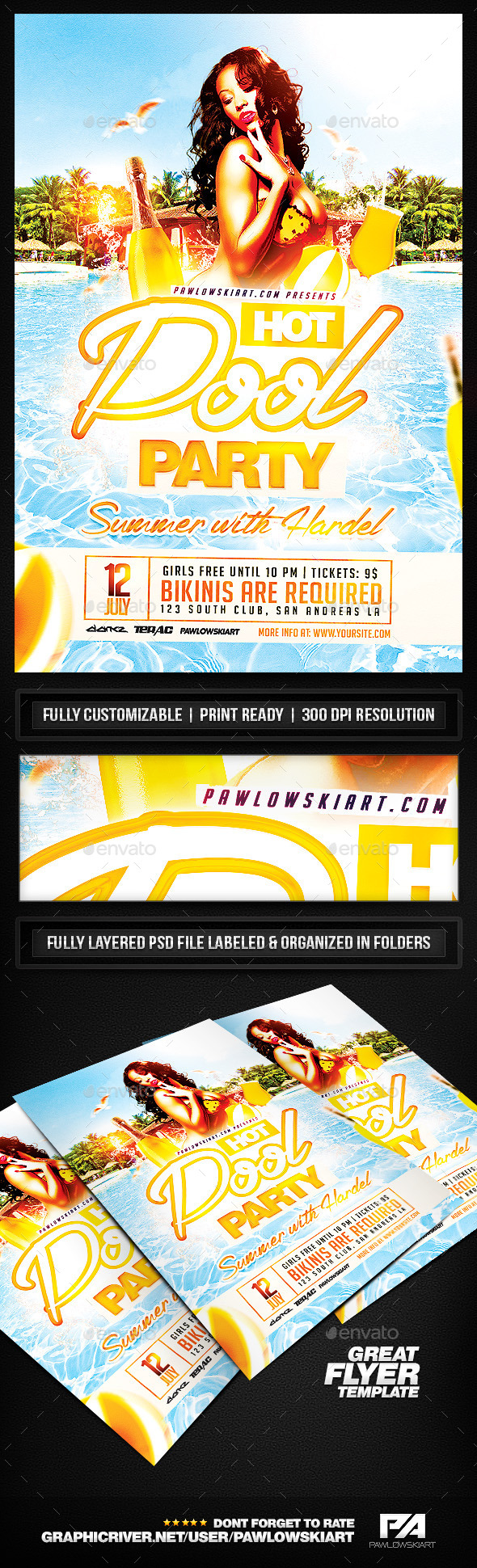 Hot Pool Party PSD Flyer Template - Clubs & Parties Events