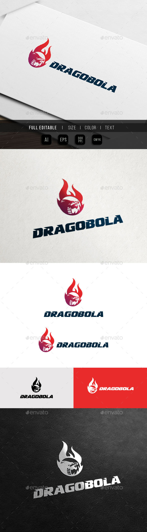 Dragon Flame - Fire Ball - Game Team Logo - Crests Logo Templates