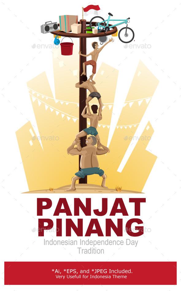 Panjat Pinang Pole Climbing - People Characters