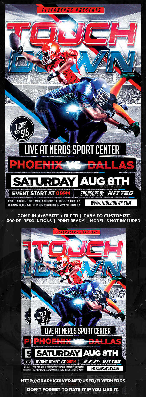 Touch Down American Football Sports Flyer - Sports Events