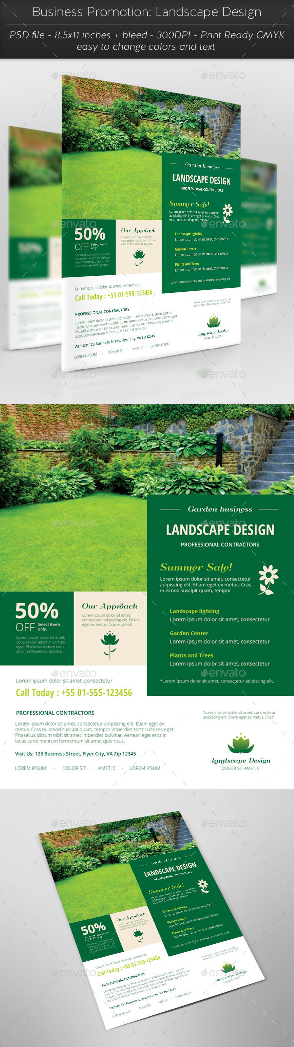 Business Promotion: Landscape Design - Flyers Print Templates