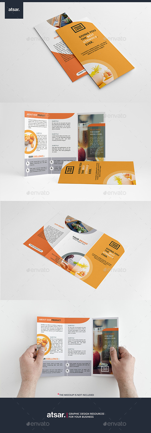 Orange Culinary Trifold - Brochures Print Templates