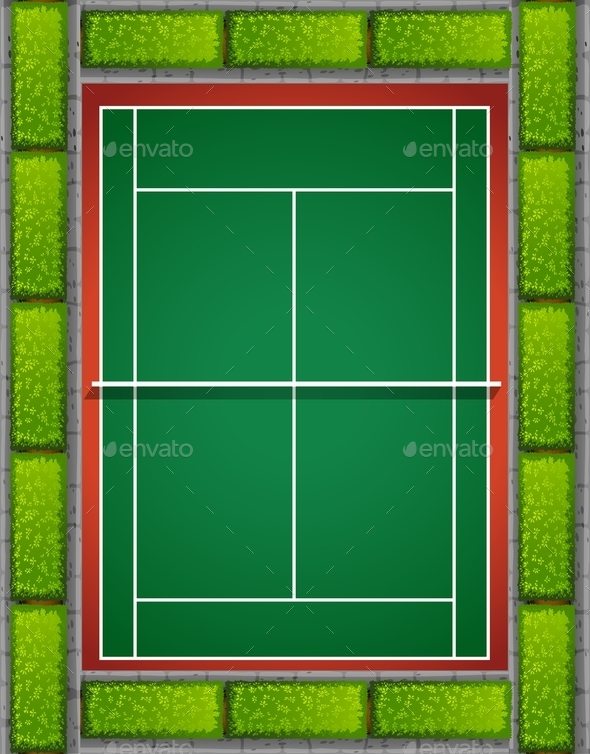 Tennis Court with Bushes Around - Miscellaneous Conceptual