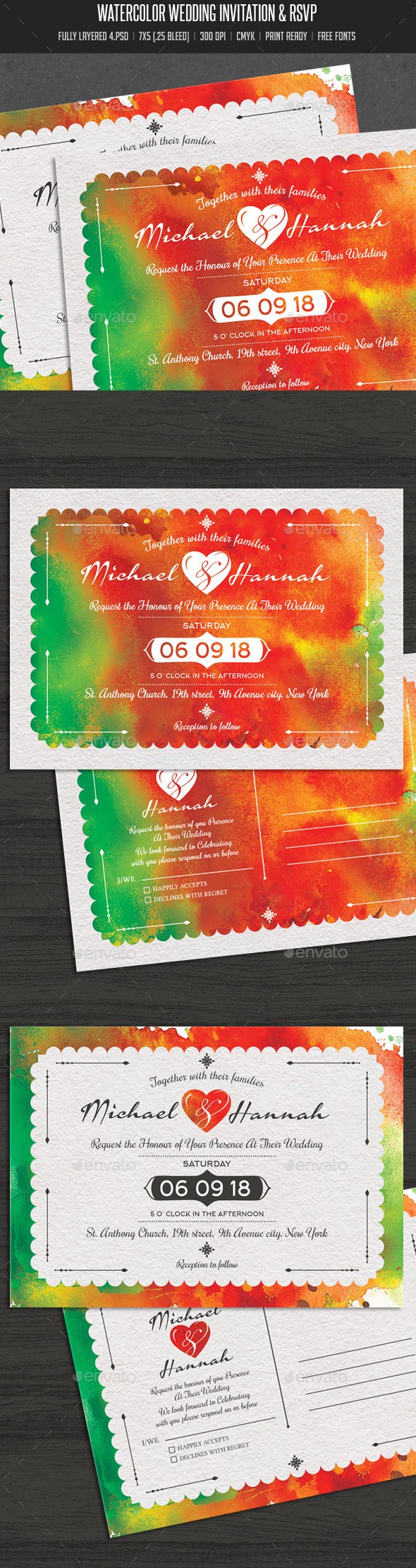 Watercolor Wedding Invitation & RSVP - Cards & Invites Print Templates