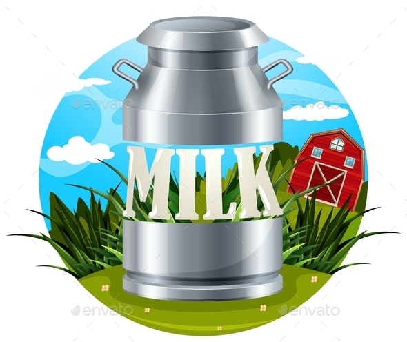 Milk Food Label with Text - Food Objects