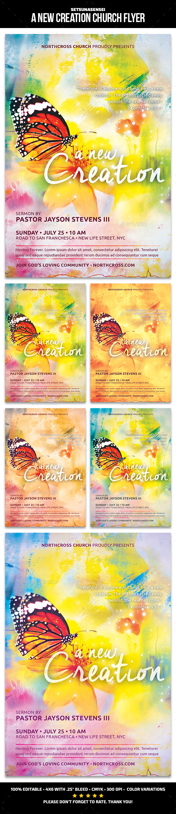 A New Creation Church Flyer - Church Flyers