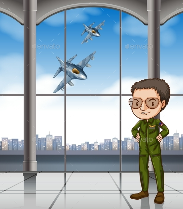 Airforce Pilot at Base - People Characters