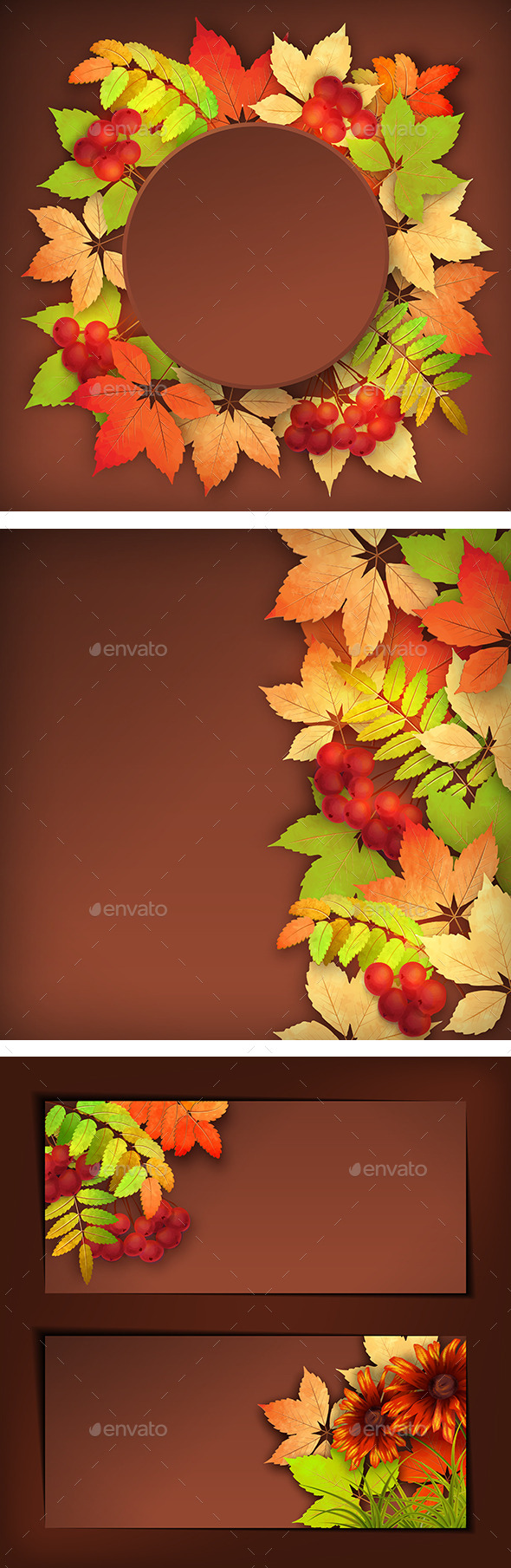 Autumn Vector Fall Leaves Background - Seasons Nature