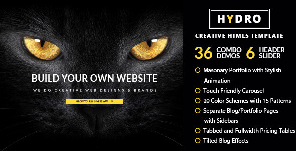 HYDRO - Multipurpose one page HTML5 Template - Creative Site Templates