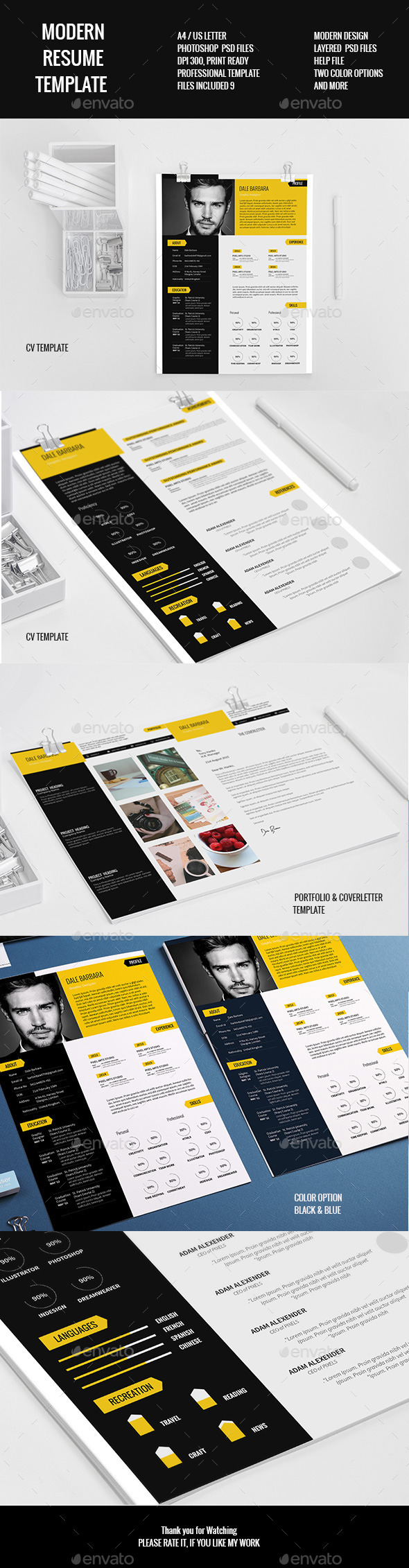 Modern Resume Set Template - Resumes Stationery