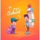 Back To School. Two Cute Schoolchild With Supplies - GraphicRiver Item for Sale