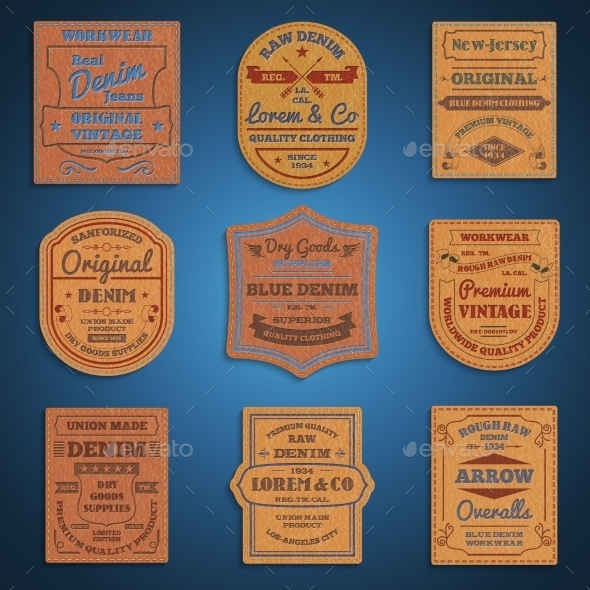 Leather Classic Denim Jeans Labels Set - Man-made Objects Objects