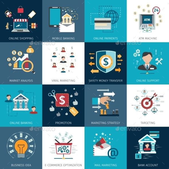Banking Marketing Concept Flat Icons Set - Business Icons