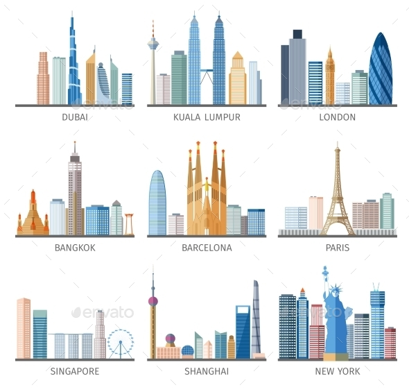 City Skyline Flat Icons Set - Buildings Objects