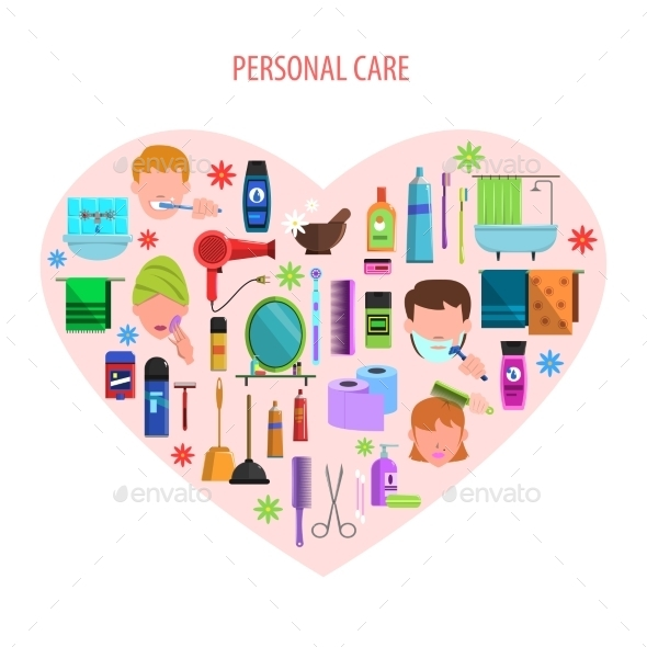 Personal Care Heart Emblem Poster - Commercial / Shopping Conceptual