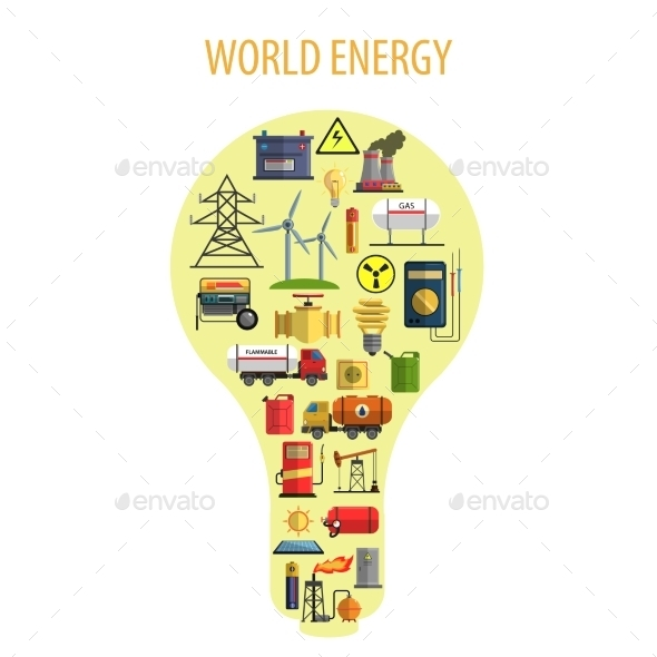 World Energy Lamp Concept  - Industries Business