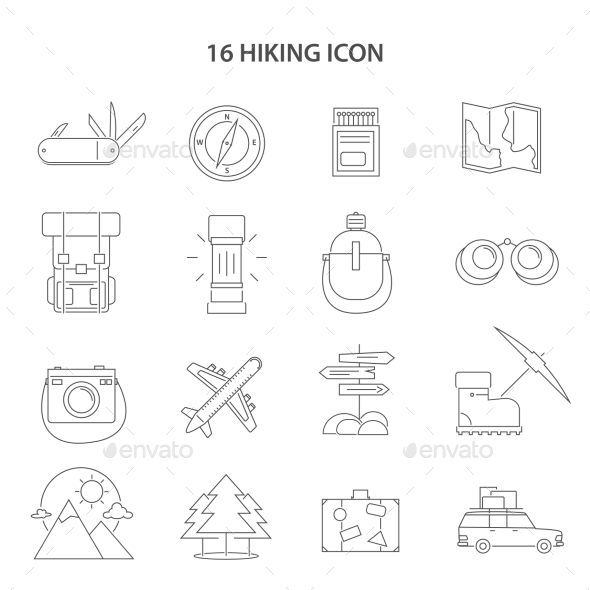 Hiking Line Icons Set - Seasonal Icons