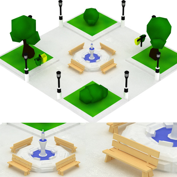 Low Poly Mini Park Set - 3DOcean Item for Sale