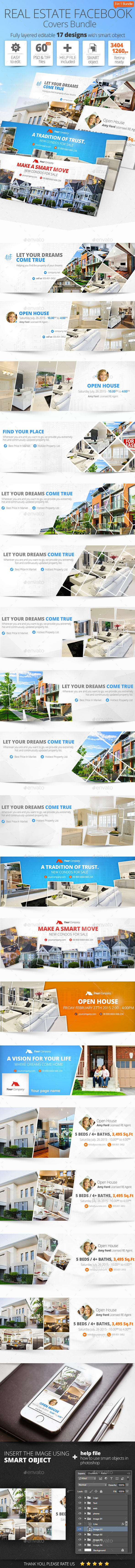 Real Estate Facebook Cover Bundle 17 Designs - Facebook Timeline Covers Social Media