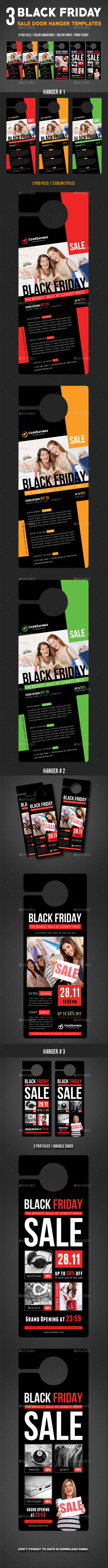 3 Black Friday Door Hanger Bundle - Miscellaneous Print Templates