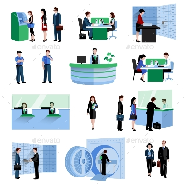 Bank People Set - Business Conceptual