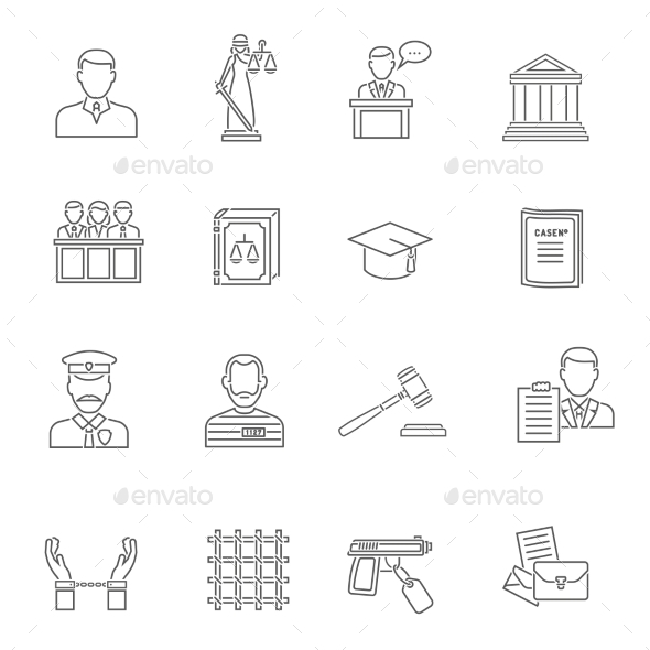 Justice Outline Icon Set  - Miscellaneous Icons