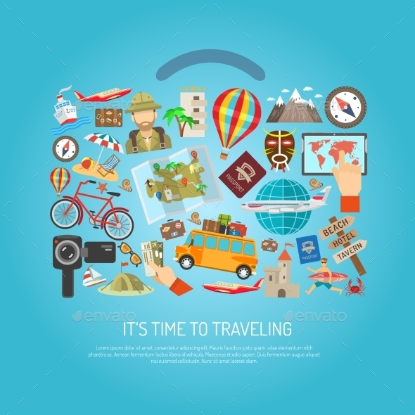 Traveling Time Flat Color Concept  - Travel Conceptual