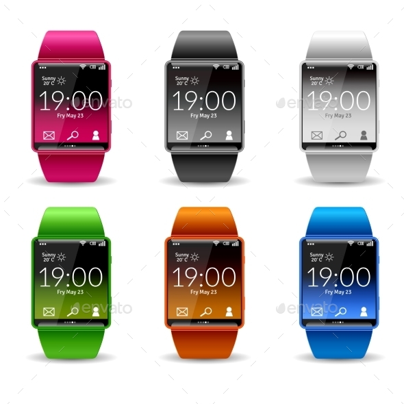 Smart Watch Icon Set - Man-made Objects Objects