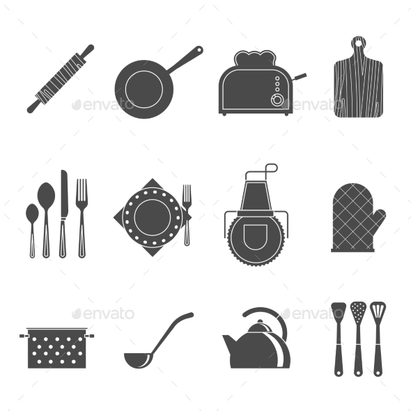 Kitchen Tools Accessories Black Icons Set - Man-made objects Objects