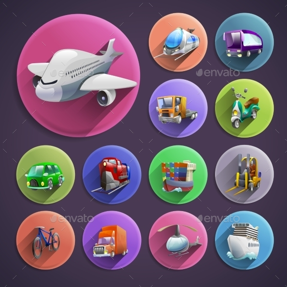 Transport Cartoon Icons Set - Technology Conceptual