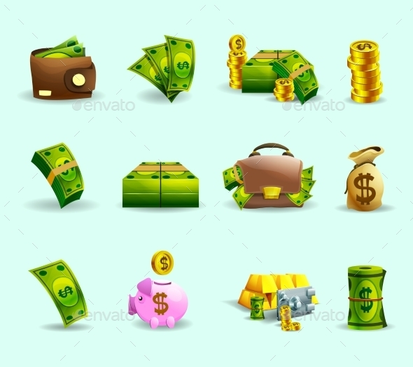 Cash Payment Flat Icons Set - Business Icons