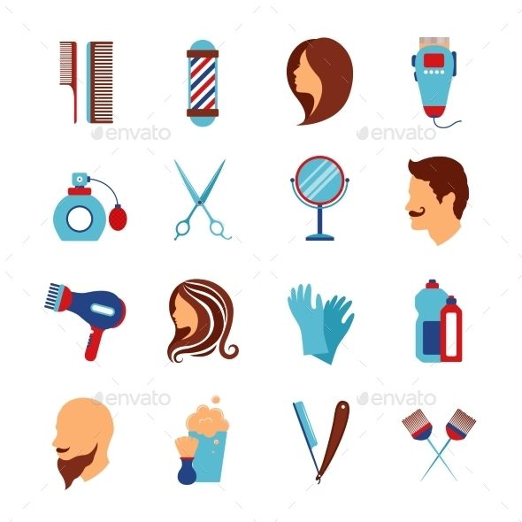 Barbershop Hairdresser Flat Icons Set - Miscellaneous Icons