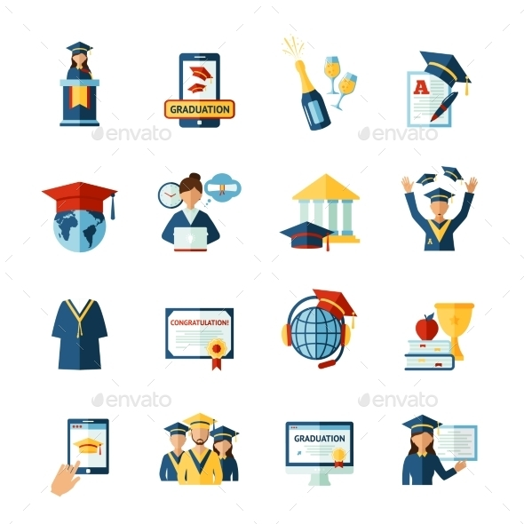 School Graduation Flat Icons Set - Miscellaneous Icons