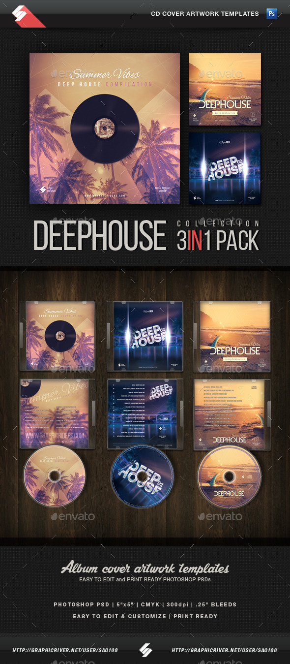 Summer Vibes - Deep House CD Cover Templates - CD & DVD Artwork Print Templates