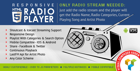 Visual Composer Addon - HTML5 Radio Player for WPBakery Page Builder - CodeCanyon Item for Sale